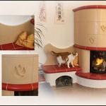 Kachelkamin mit individuellen Keramikelementen